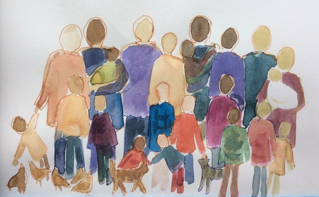 watercolor of diverse people standing together