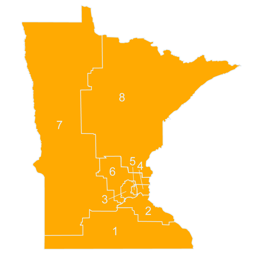 Map of Minnesota's congressional districts