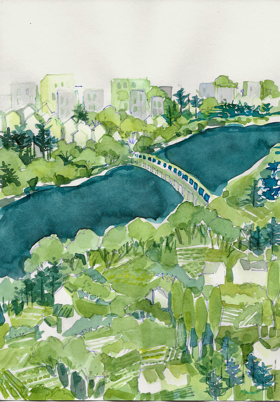 watercolor of a landscape with a bridge over a river